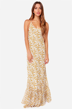 Flowers in a Day Ivory Floral Print Maxi Dress