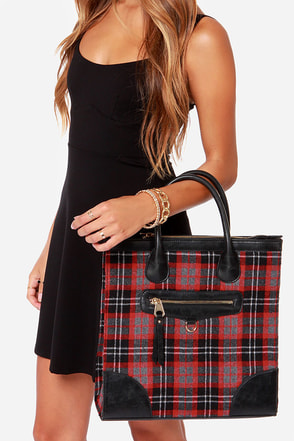 Highlands Black and Red Plaid Tote