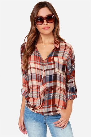 Olive & Oak Twisted Hipster Orange Plaid Top