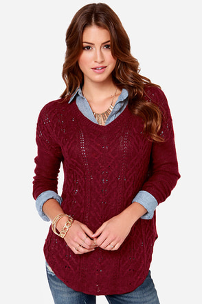 Olive & Oak Valhalla Wine Red Knit Sweater