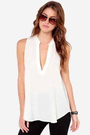 Daily Special Sleeveless Ivory Top