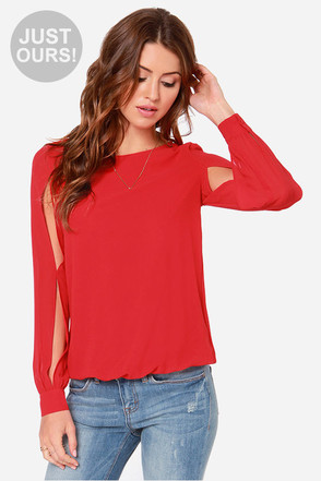 LULUS Exclusive Lucky Ch-Arms Red Long Sleeve Top