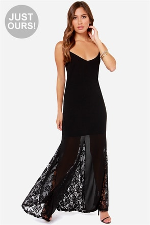 LULUS Exclusive Under The Full Swoon Black Maxi Dress
