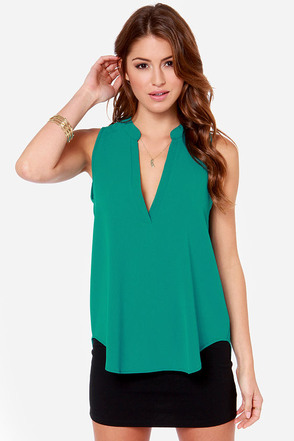Daily Special Sleeveless Teal Top