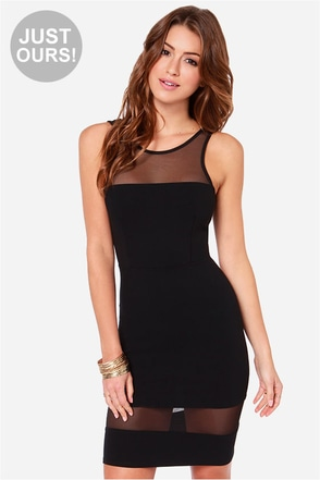 LULUS Exclusive Dance Floor Diva Black Mesh Dress