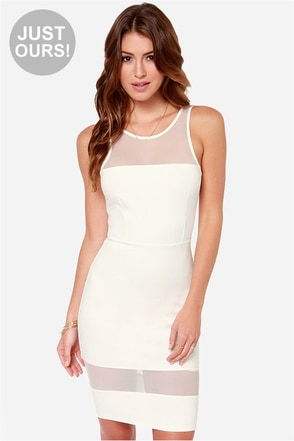 LULUS Exclusive Dance Floor Diva Ivory Mesh Dress