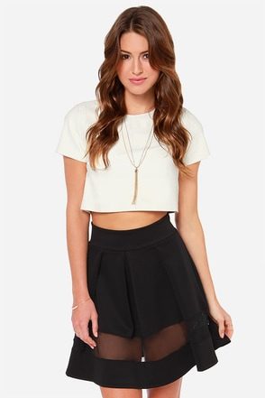 Full Throttle Ivory Mesh Skirt at Lulus.com!
