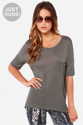 LULUS Exclusive Oversize Me Grey Tee