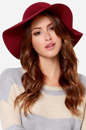 Lucy Love Almost Famus Burgundy Floppy Hat at Lulus.com!