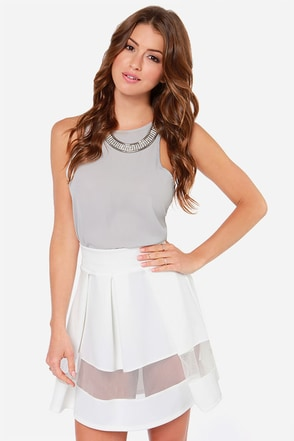 Full Throttle Ivory Mesh Skirt
