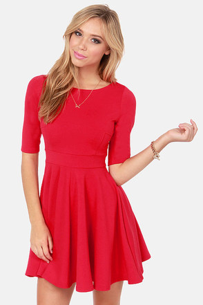 Red Skater Dresses For Juniors