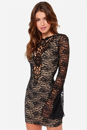 One Rad Girl Natalia Backless Black Lace Dress