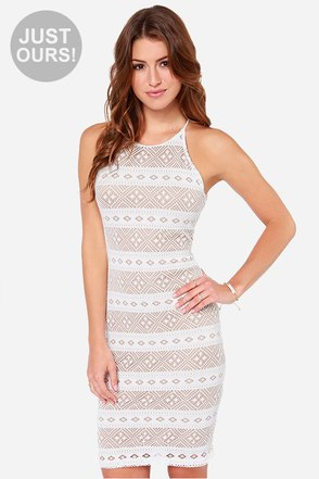 LULUS Exclusive Mesh-ing Around Ivory Lace Dress