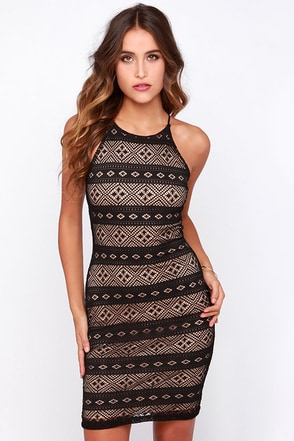 LULUS Exclusive Mesh-ing Around Black Lace Dress