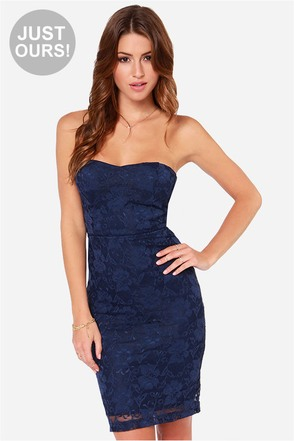 LULUS Exclusive Dangerous Games Strapless Navy Blue Lace Dress
