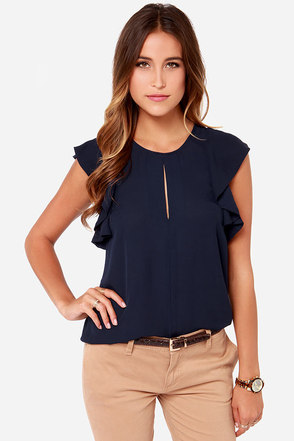 Front Desk Flirt Navy Blue Top