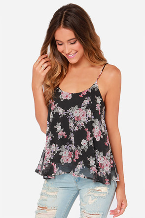 Fleur-Ever Young Black Floral Print Top