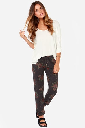 Obey Lola Grey Floral Print Sweatpants
