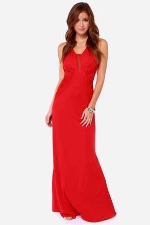 Bariano Sophia Red Mesh Maxi Dress