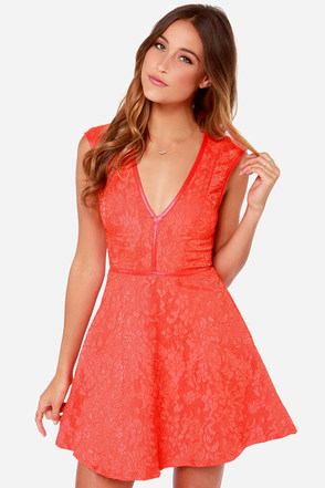 Lumier Last Chance Coral Red Lace Dress