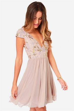 Bariano Sabina Beige Sequin Dress at Lulus.com!