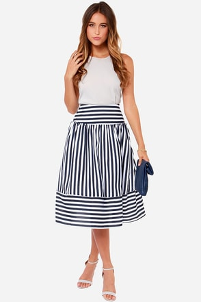 JOA Here Midi, Midi Navy Blue and Ivory Striped Skirt
