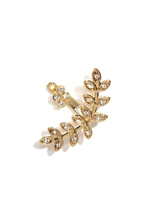 A Vine Idea Gold Rhinestone Ear Cuff
