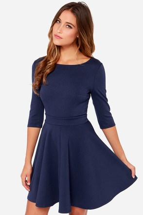 Just a Twirl Navy Blue Dress