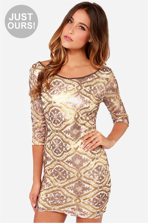 LULUS Exclusive Sequin-Centennial Gold Sequin Dress