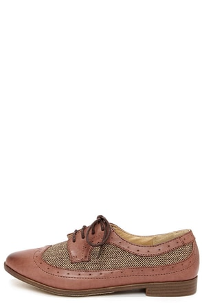 Restricted Bedford Brown Herringbone Oxford Flats