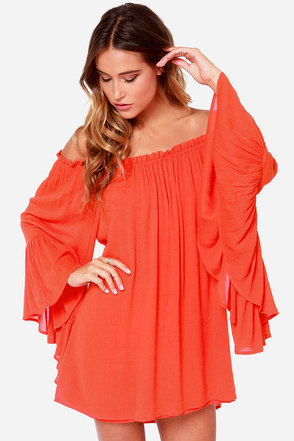Samba Rhythm Red Orange Off-the-Shoulder Dress