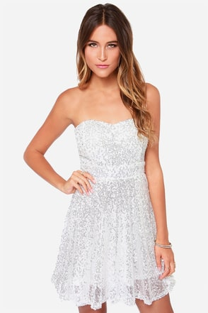 Shine and Dandy Strapless Ivory Sequin Dress