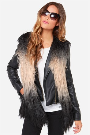 Blank NYC Furst Time Beige and Black Faux Fur Vest