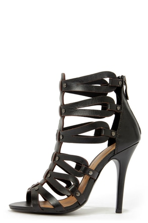 Chinese Laundry Janes Way Black Leather Strappy Peep Toe Heels