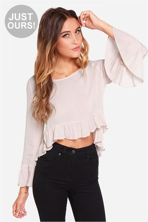 LULUS Exclusive Belladonna Light Beige Crop Top