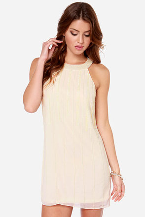 Beading Heart Beaded Cream Dress