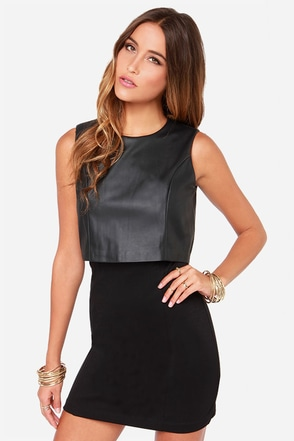 Vest of Both Worlds Black Vegan Leather Dress