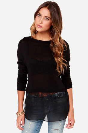 Coffee Run Black Sweater Top