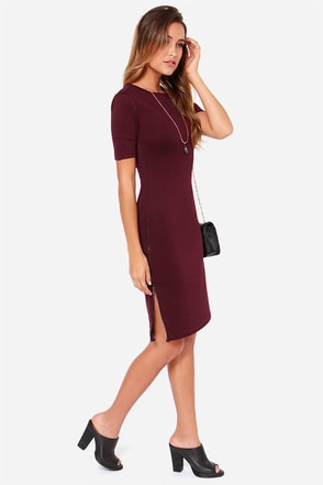 Zippery When Wet Burgundy Midi Dress