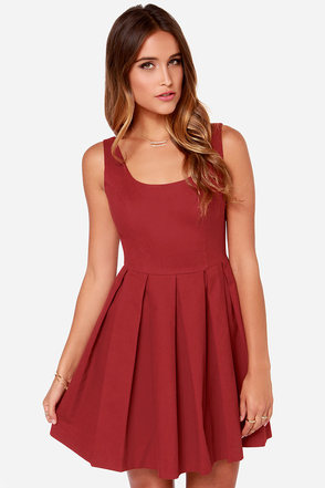 BB Dakota Dane Wine Red Skater Dress