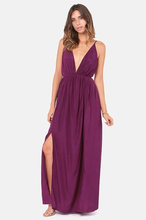 Titania's Woods Backless Purple Maxi Dress