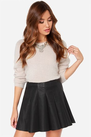 BB Dakota Nynette Vegan Leather Black Mini Skirt