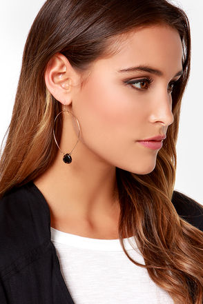 Stone Age Black and Gold Hoop Earrings