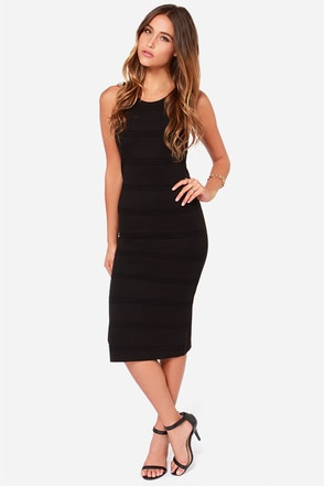 BB Dakota Keading Black Midi Dress