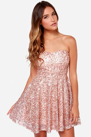 Shine and Dandy Strapless Rose Gold Sequin Dress