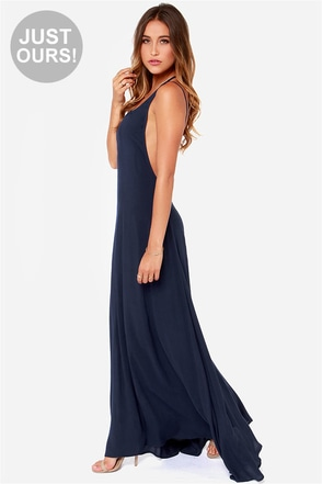 LULUS Exclusive All About You Navy Blue Maxi Dress