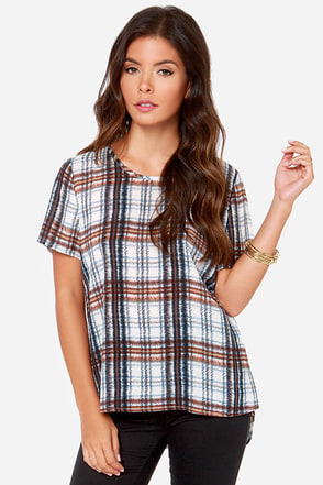 I. Madeline Plaid the Game Blue Plaid Top