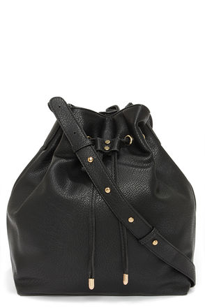 Quick On the Drawstring Black Tote