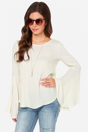 Works Like A Charm Cream Long Sleeve Top
