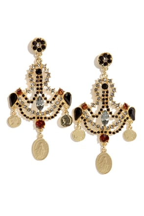Enchanting Empress Black Rhinestone Earrings